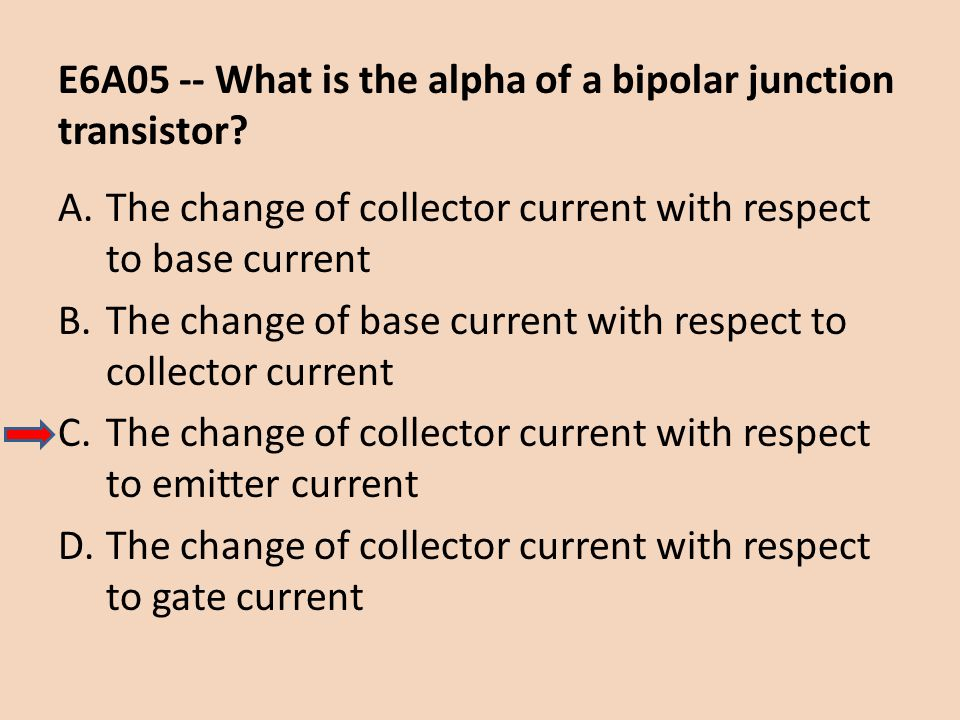 E6A05 -- What is the alpha of a bipolar junction transistor