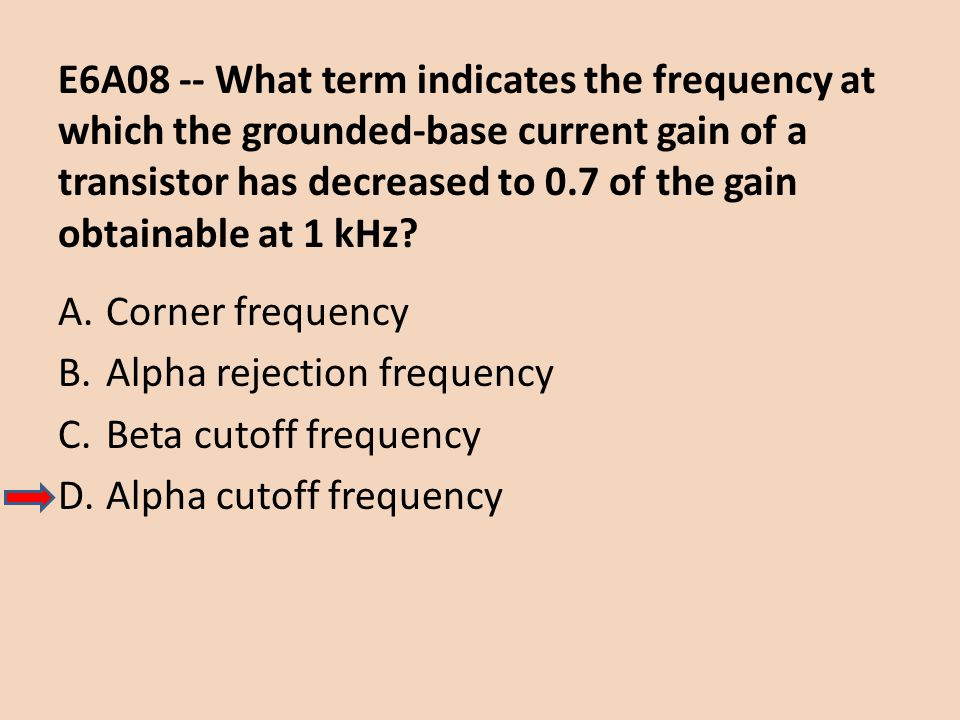 E6A08 -- What term indicates the frequency at which the grounded-base current gain of a transistor has decreased to 0.7 of the gain obtainable at 1 kHz