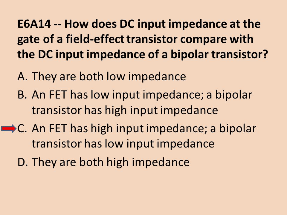 E6A14 -- How does DC input impedance at the gate of a field-effect transistor compare with the DC input impedance of a bipolar transistor