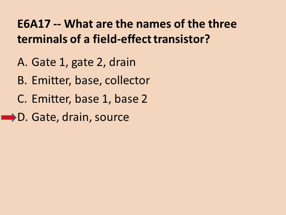 E6A17 -- What are the names of the three terminals of a field-effect transistor