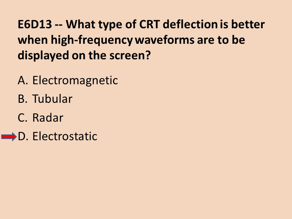 E6D13 -- What type of CRT deflection is better when high-frequency waveforms are to be displayed on the screen