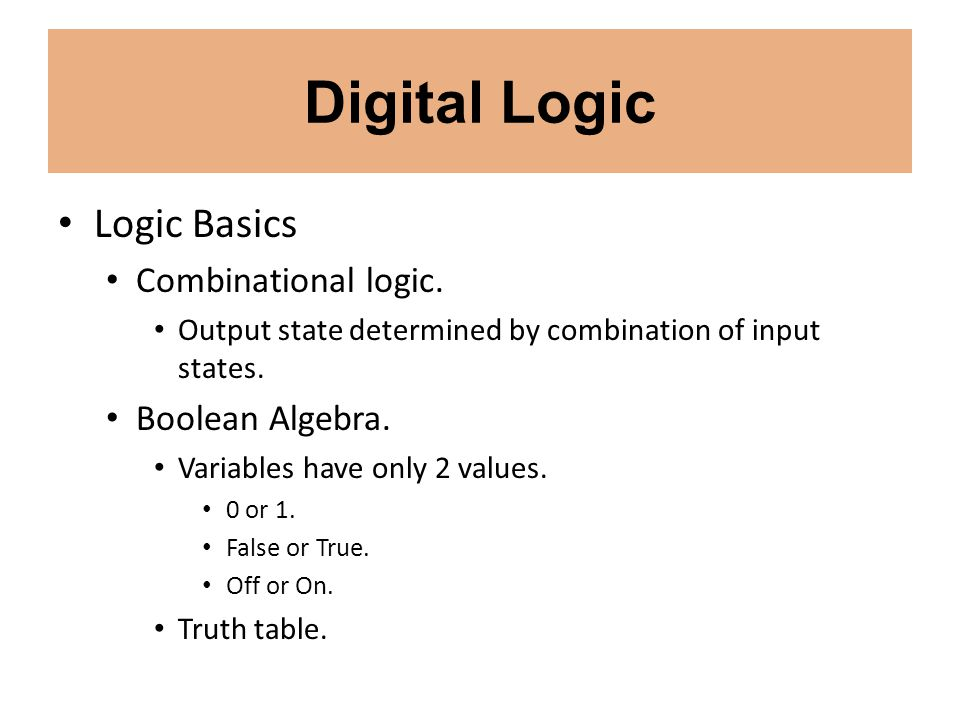 Digital Logic Logic Basics Combinational logic. Boolean Algebra.