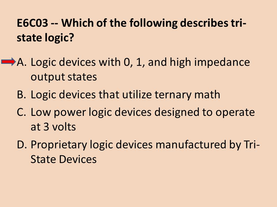 E6C03 -- Which of the following describes tri-state logic
