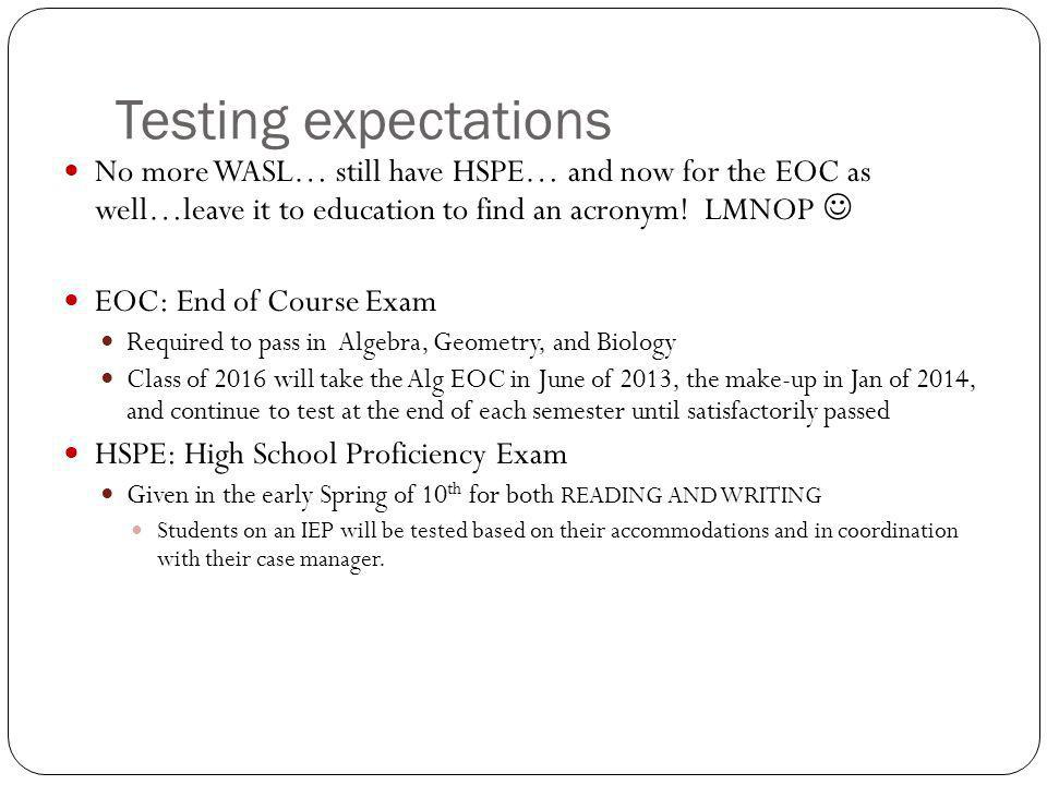 Testing expectations No more WASL… still have HSPE… and now for the EOC as well…leave it to education to find an acronym! LMNOP 