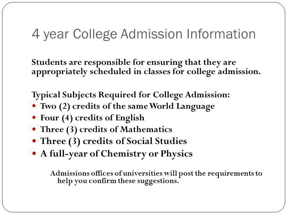 4 year College Admission Information