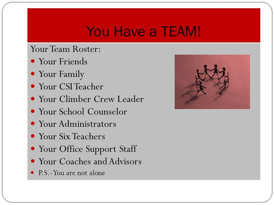 You Have a TEAM! Your Team Roster: Your Friends Your Family
