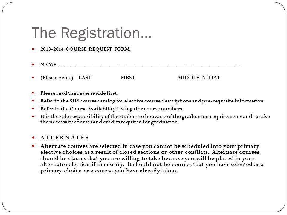 The Registration… A L T E R N A T E S