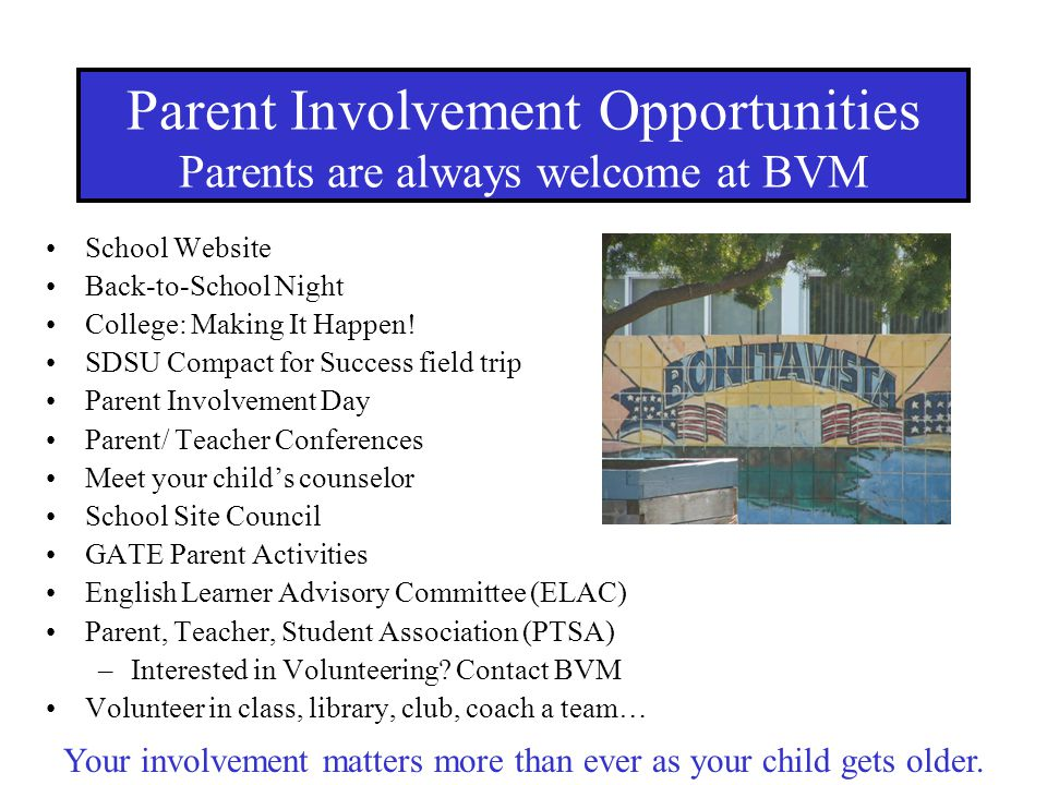 Parent Involvement Opportunities Parents are always welcome at BVM