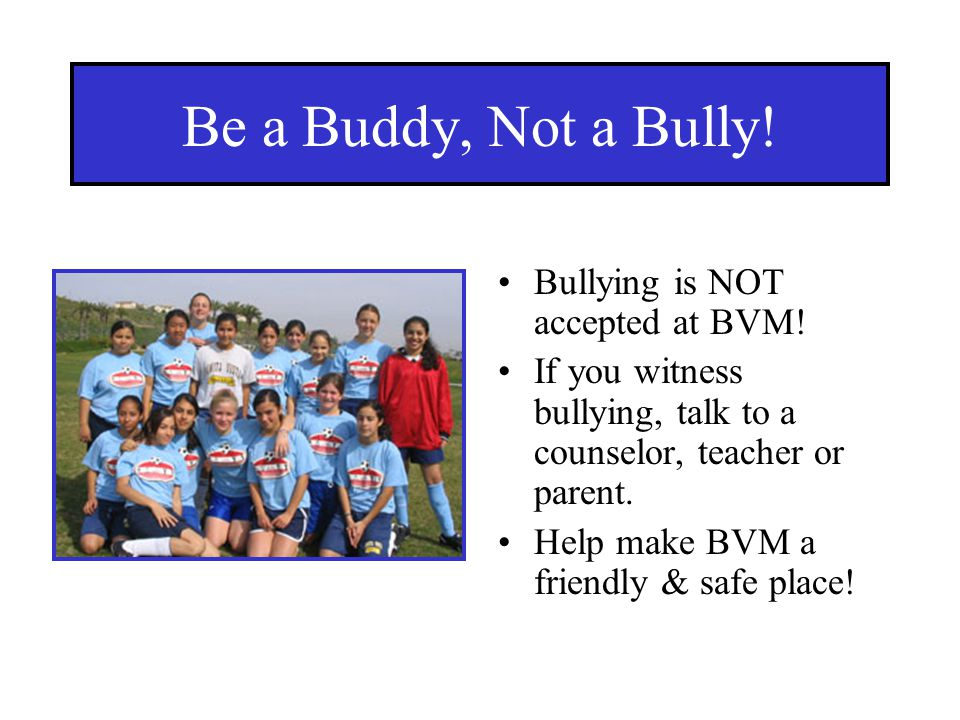 Be a Buddy, Not a Bully! Bullying is NOT accepted at BVM!