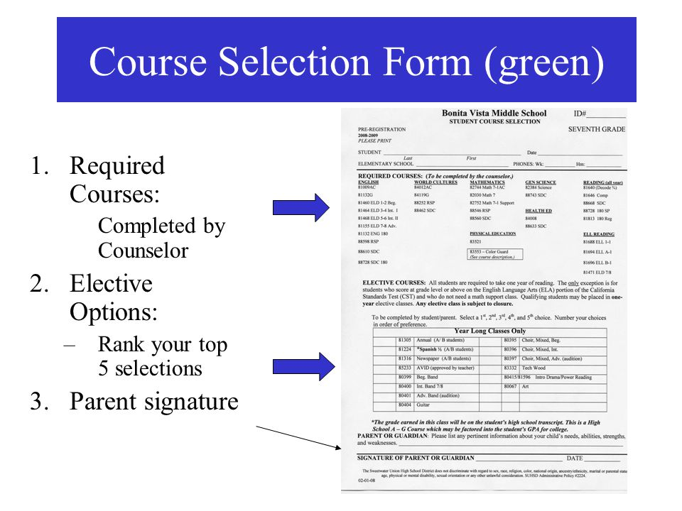 Course Selection Form (green)