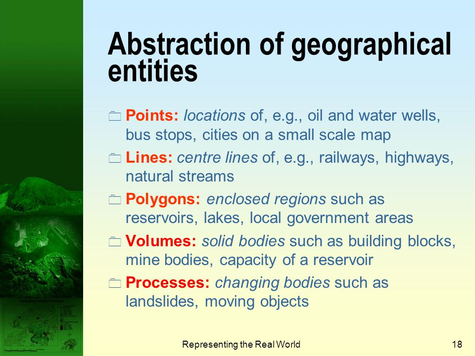 Abstraction of geographical entities