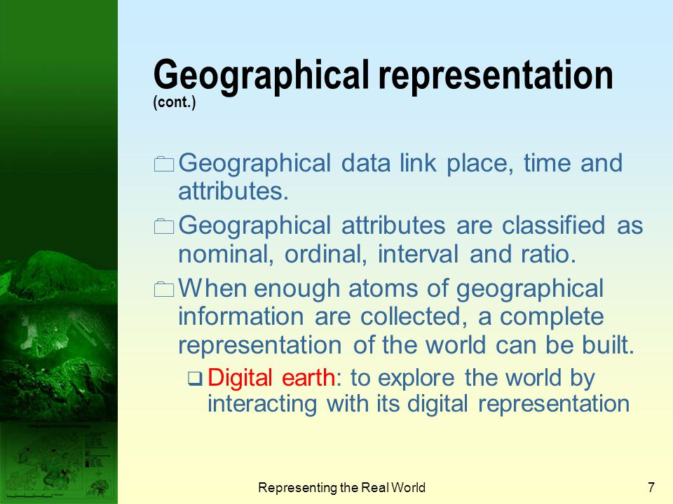 Geographical representation (cont.)