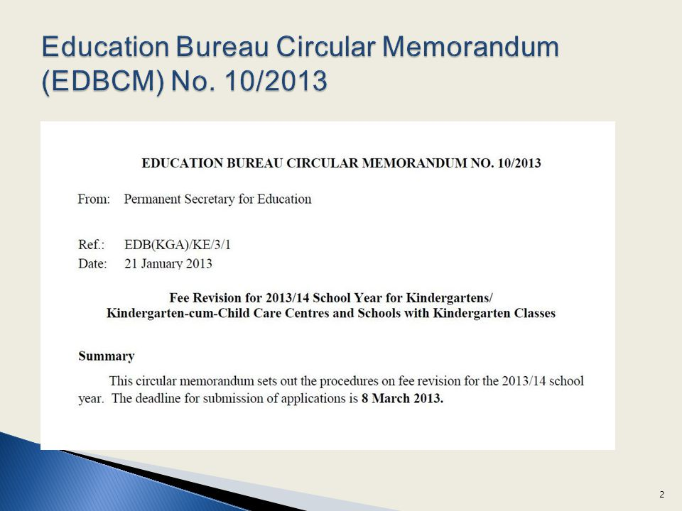 Education Bureau Circular Memorandum (EDBCM) No. 10/2013