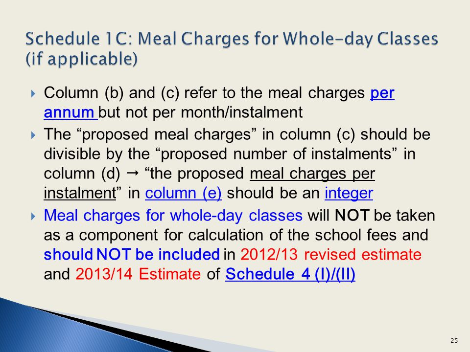 Schedule 1C: Meal Charges for Whole-day Classes (if applicable)