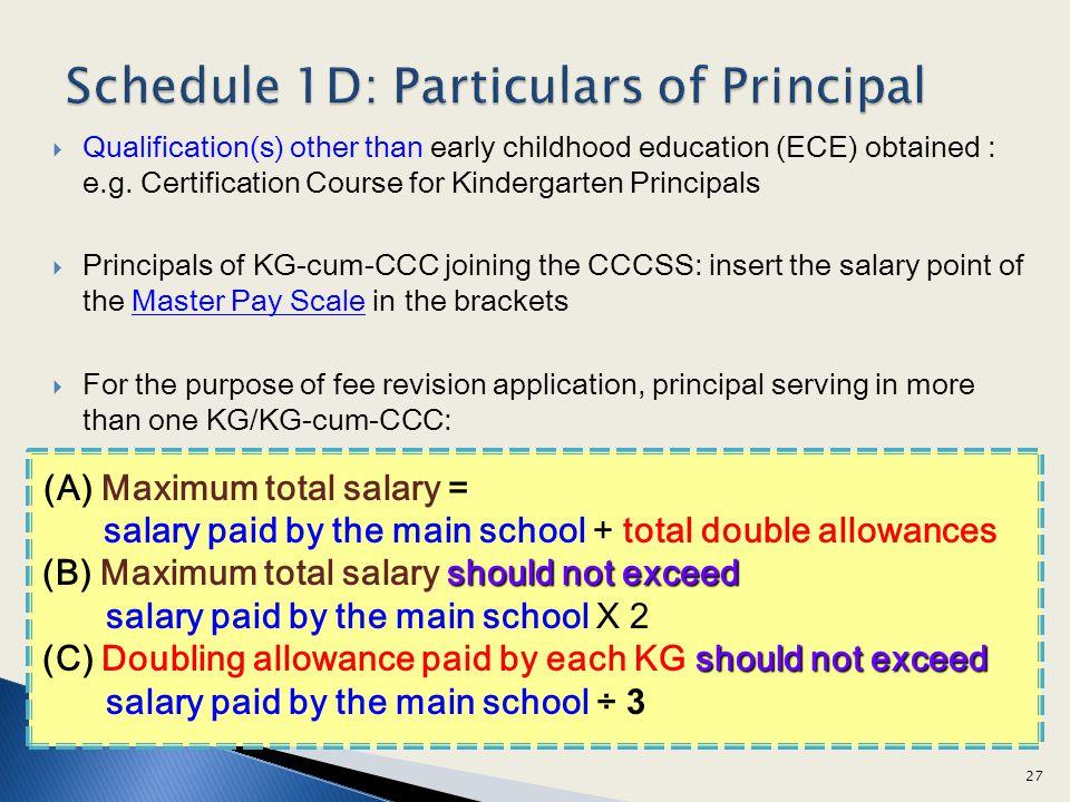 Schedule 1D: Particulars of Principal