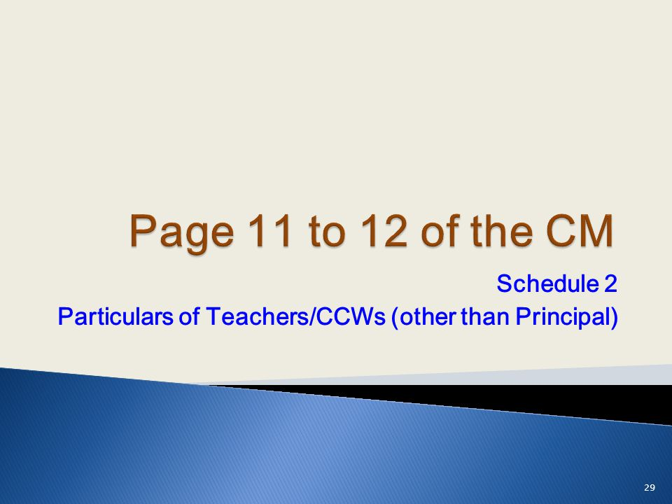 Schedule 2 Particulars of Teachers/CCWs (other than Principal)