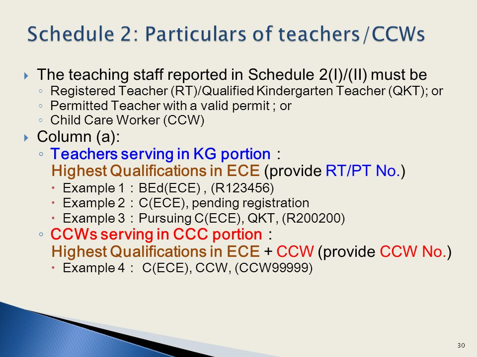 Schedule 2: Particulars of teachers/CCWs