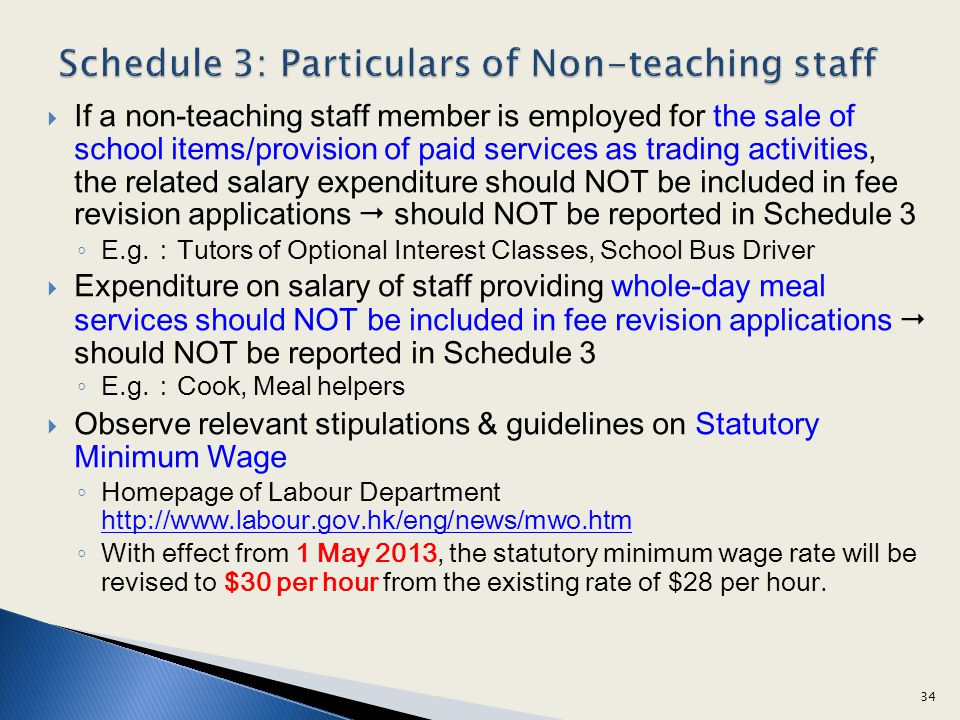 Schedule 3: Particulars of Non-teaching staff