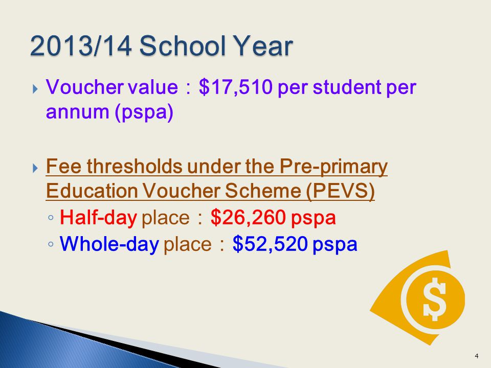 2013/14 School Year Voucher value:$17,510 per student per annum (pspa)