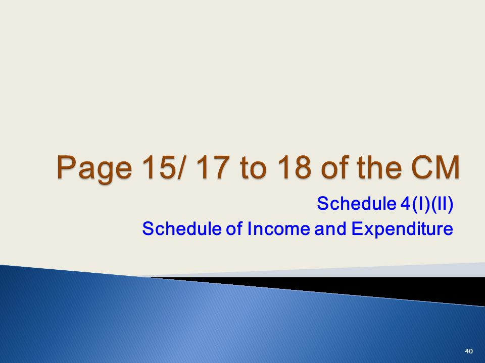 Schedule 4(I)(II) Schedule of Income and Expenditure