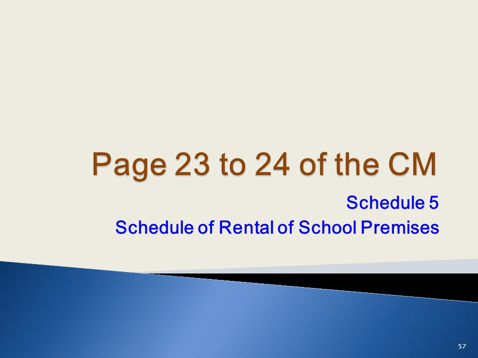 Schedule 5 Schedule of Rental of School Premises