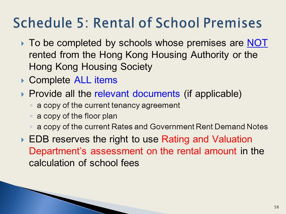 Schedule 5: Rental of School Premises