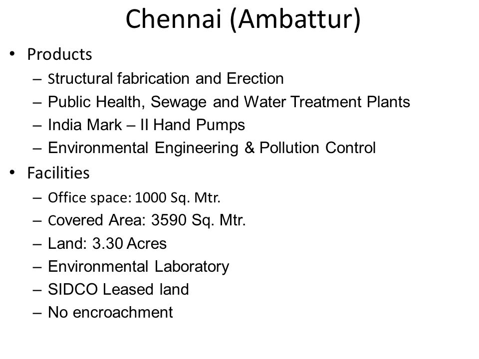 Chennai (Ambattur) Products Facilities