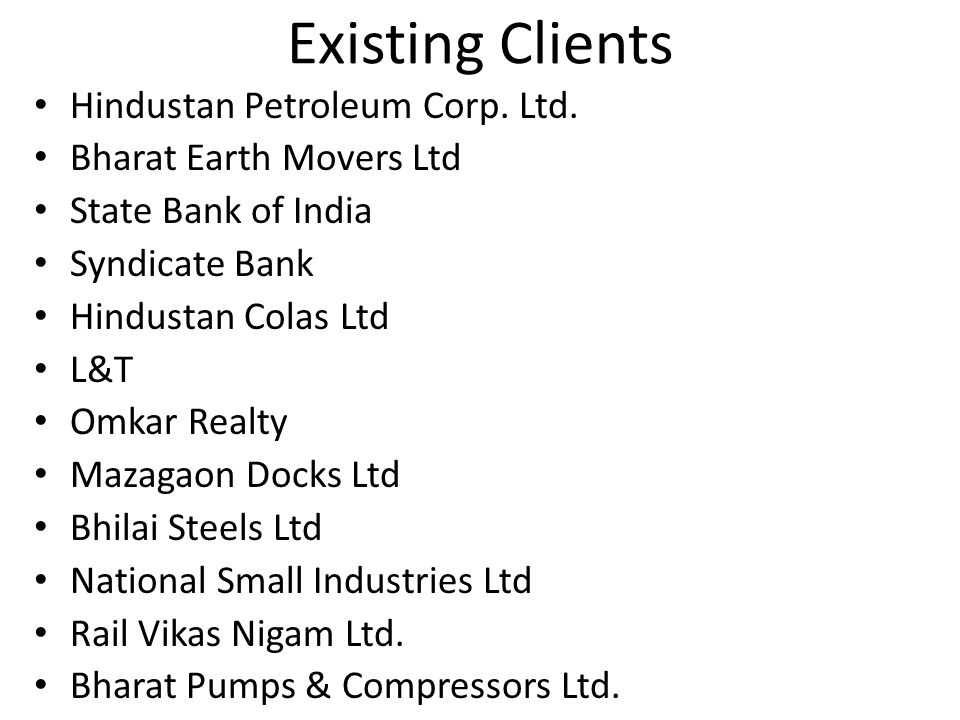 Existing Clients Hindustan Petroleum Corp. Ltd.