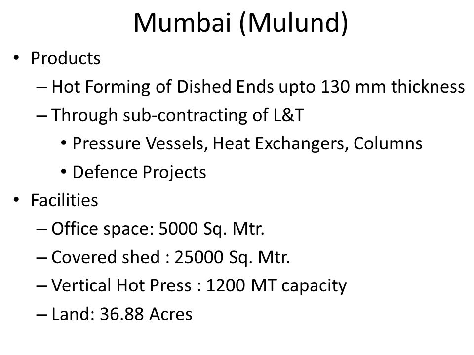 Mumbai (Mulund) Products
