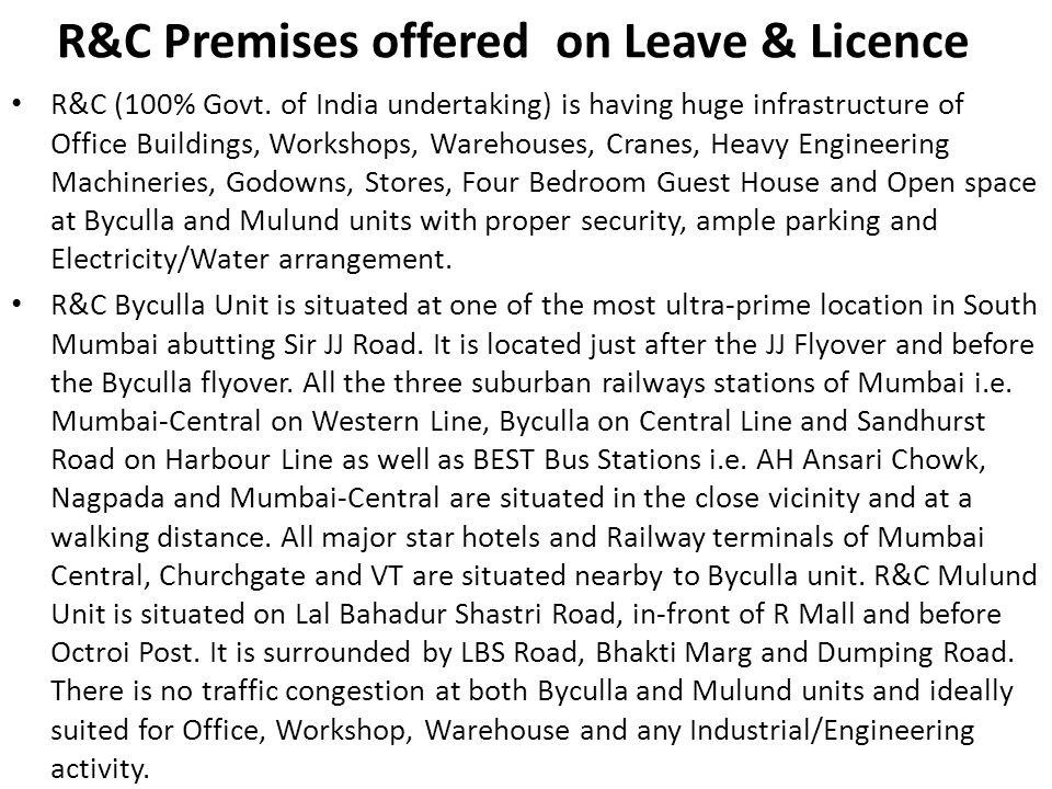 R&C Premises offered on Leave & Licence