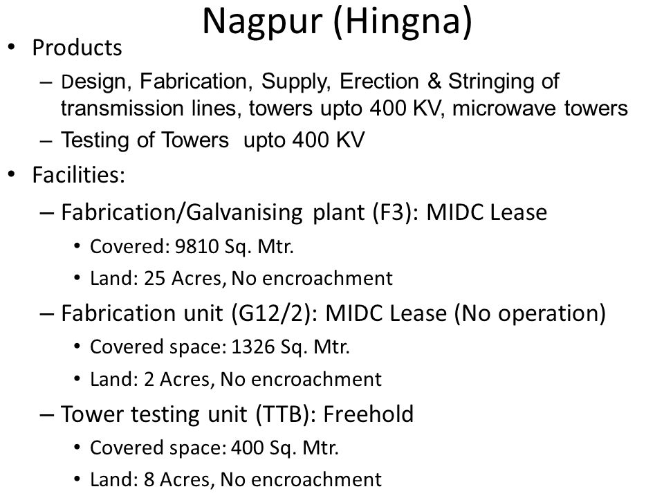 Nagpur (Hingna) Products Facilities: