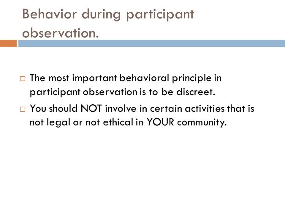 Behavior during participant observation.