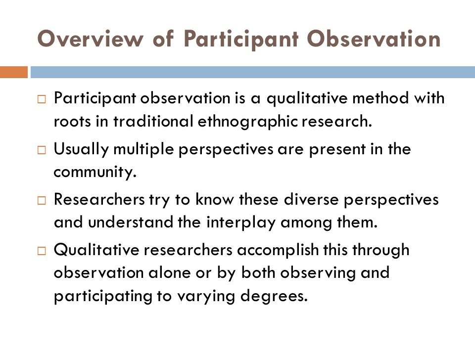Overview of Participant Observation