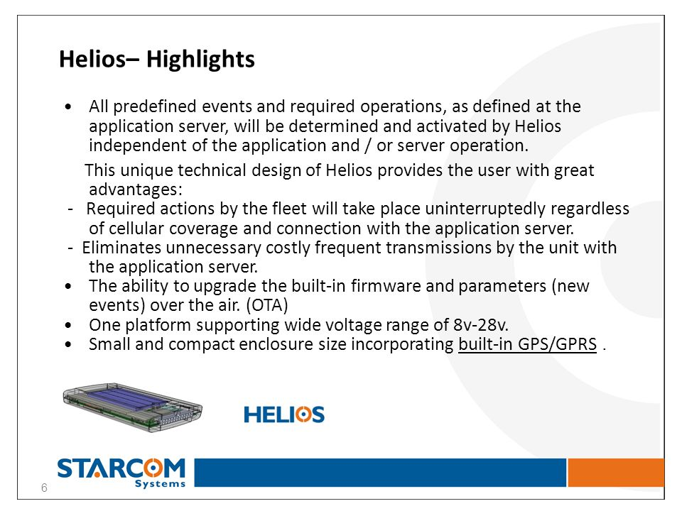 Helios– Highlights