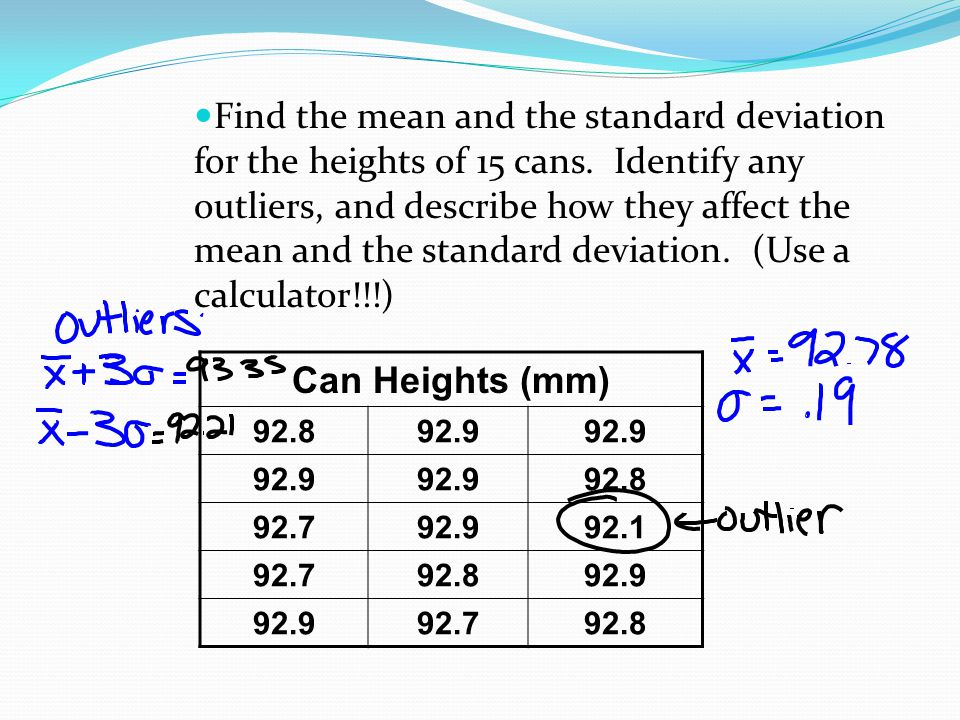 Find the mean and the standard deviation for the heights of 15 cans