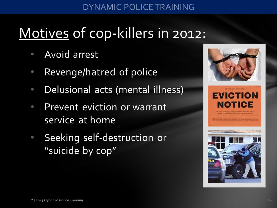 Motives of cop-killers in 2012: