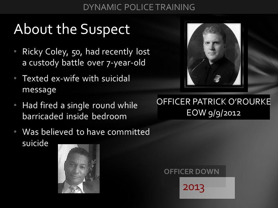 About the Suspect 2013 DYNAMIC POLICE TRAINING