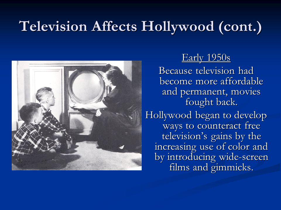Television Affects Hollywood (cont.)
