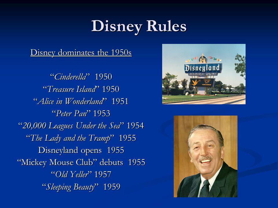 Disney Rules Disney dominates the 1950s Cinderella 1950