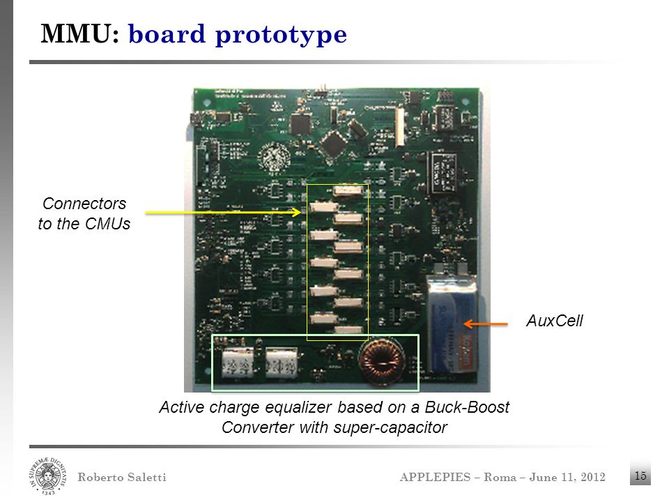 MMU: board prototype Connectors to the CMUs AuxCell