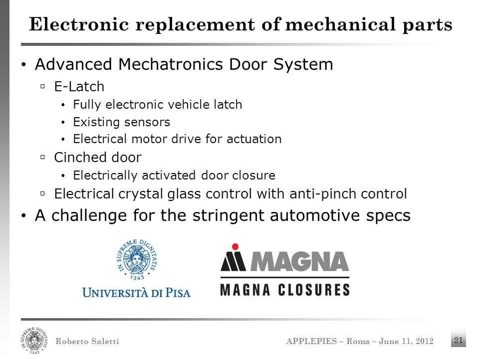 Electronic replacement of mechanical parts