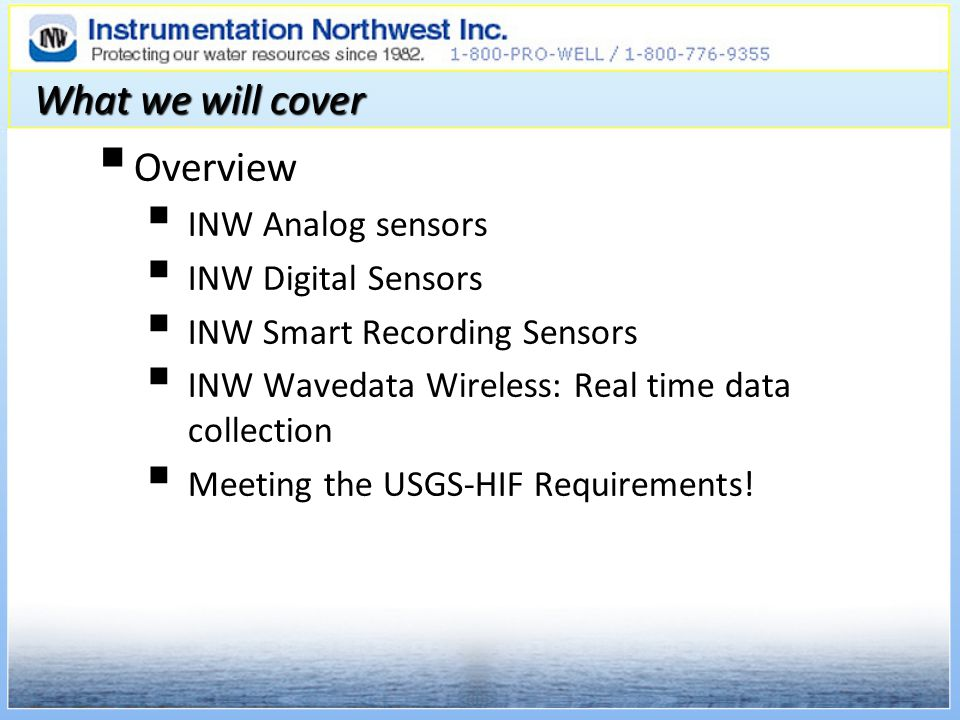 What we will cover Overview INW Analog sensors INW Digital Sensors
