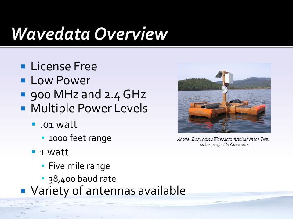 Wavedata Overview License Free Low Power 900 MHz and 2.4 GHz
