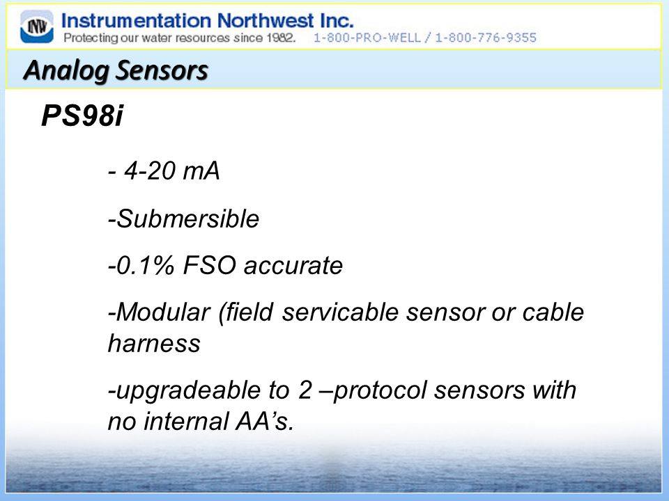 Analog Sensors PS98i - 4-20 mA -Submersible -0.1% FSO accurate