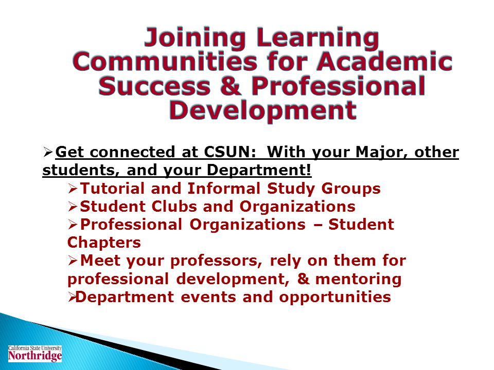 Joining Learning Communities for Academic Success & Professional Development