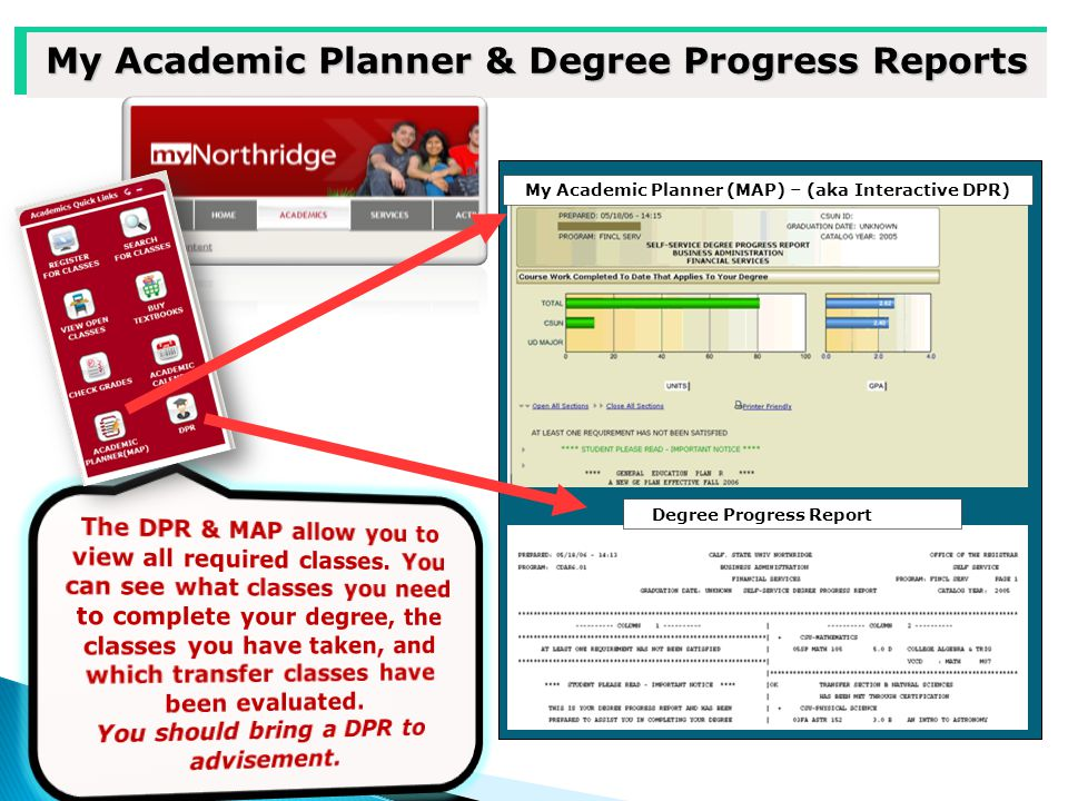 My Academic Planner & Degree Progress Reports