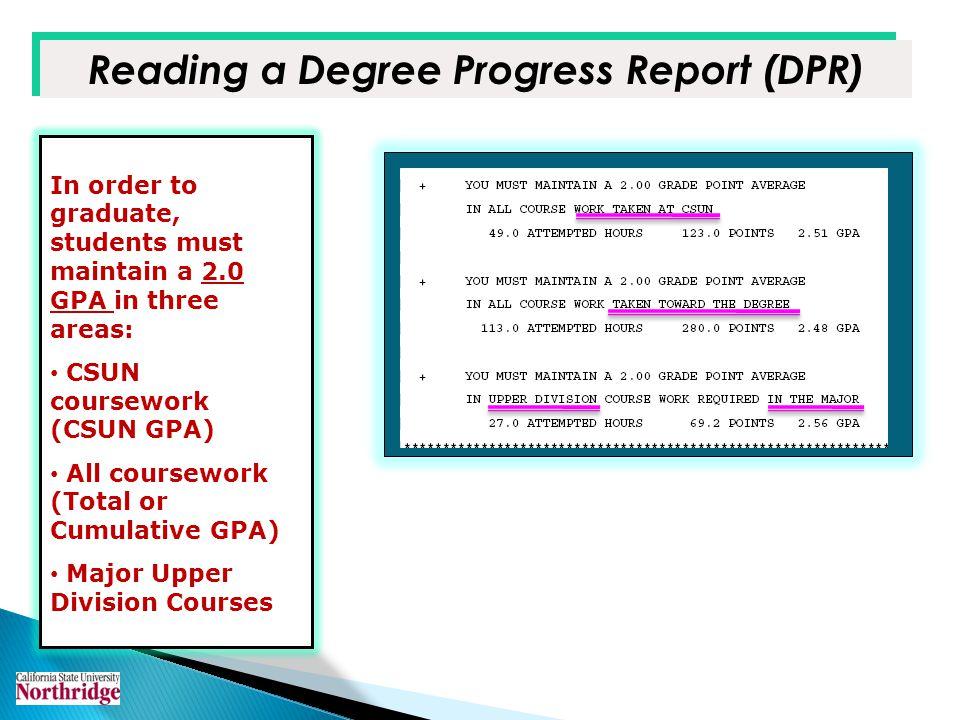 Reading a Degree Progress Report (DPR)