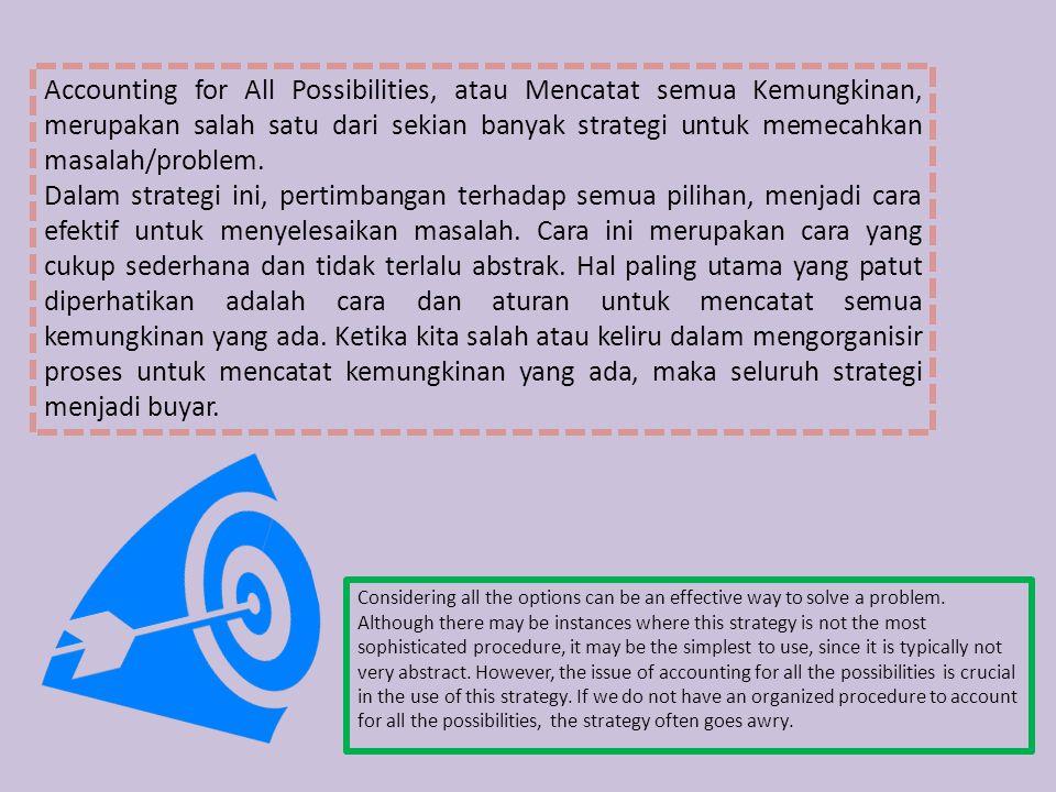Accounting for All Possibilities, atau Mencatat semua Kemungkinan, merupakan salah satu dari sekian banyak strategi untuk memecahkan masalah/problem.
