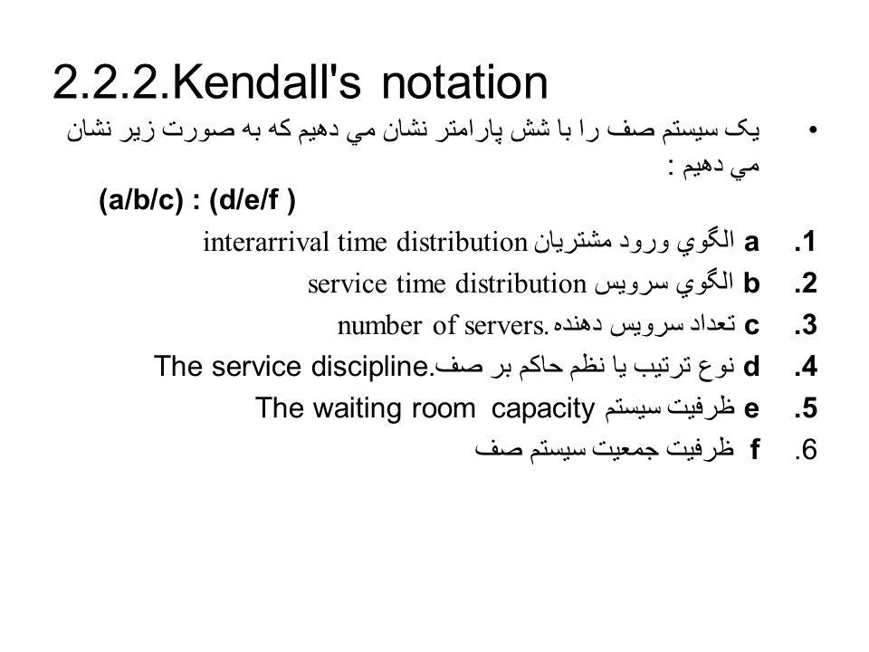 2.2.2.Kendall s notation يک سيستم صف را با شش پارامتر نشان مي دهيم که به صورت زير نشان مي دهيم : (a/b/c) : (d/e/f )