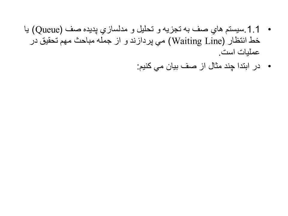 1.1.سيستم هاي صف به تجزيه و تحليل و مدلسازي پديده صف (Queue) يا خط انتظار (Waiting Line) مي پردازند و از جمله مباحث مهم تحقيق در عمليات است.